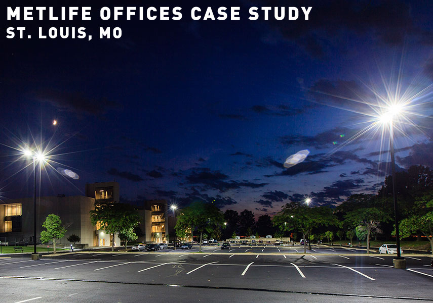 Fisher Lighting and Controls Denver Colorado Rep Representative GE Lighting Evolve Scalable LED Area Light Parking Lot MetLife Offices St Louis Missouri MO Corporate Parking Lot Case Study